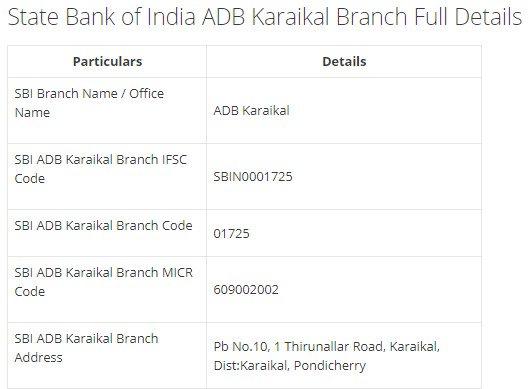 IFSC Code for SBI ADB Karaikal Branch width=728