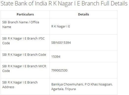 IFSC Code for SBI R K Nagar I E Branch width=728