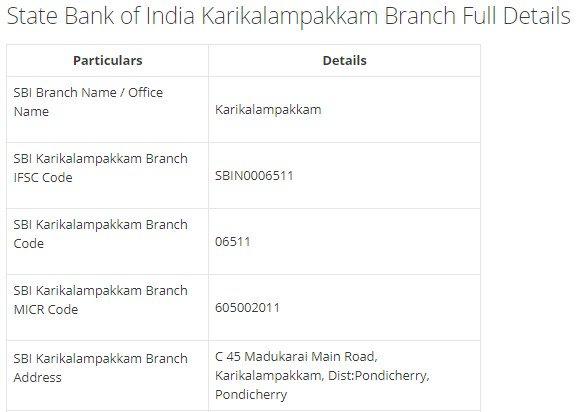 IFSC Code for SBI Karikalampakkam Branch width=728