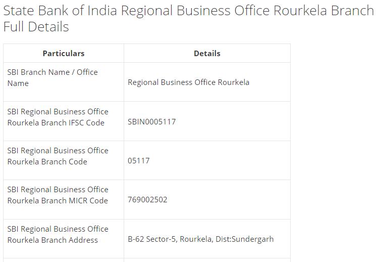 IFSC Code for SBI Regional Business Office Rourkela Branch