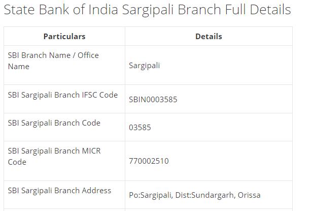 IFSC Code for SBI Sargipali Branch