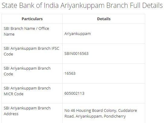 IFSC Code for SBI Ariyankuppam Branch width=728