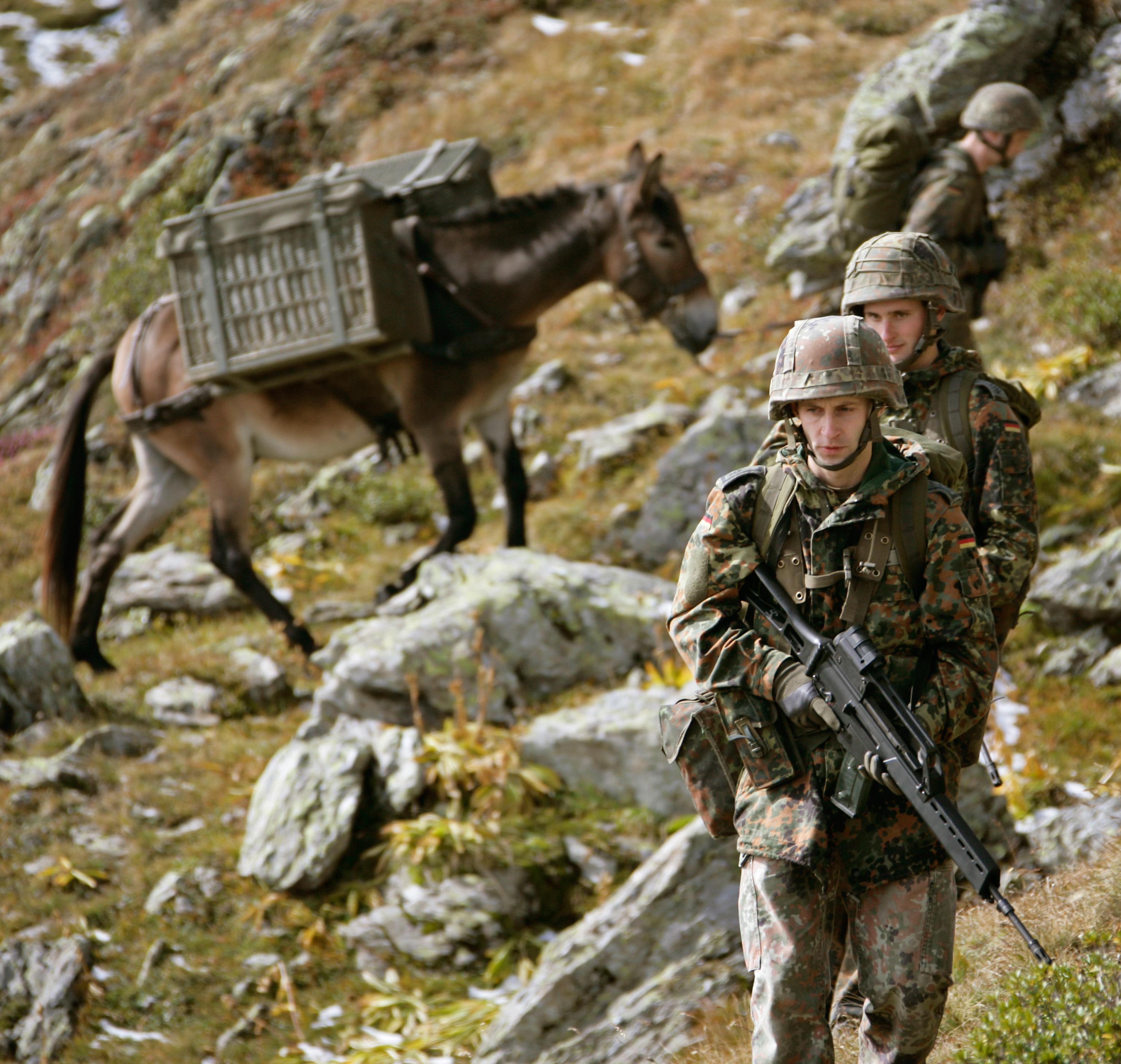German Gebirgsjäger (Specialized Mountain Infantry) and their tactical transport mule. Vehicles such as bikes or ATVs (Quads) ar