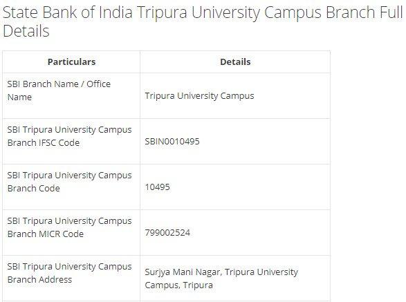 IFSC Code for SBI Tripura University Campus Branch width=728