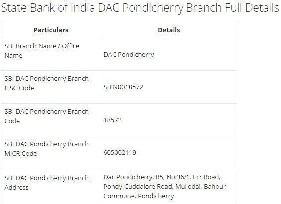 IFSC Code for SBI DAC Pondicherry Branch width=728