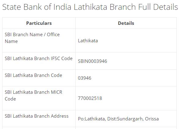 IFSC Code for SBI Lathikata Branch