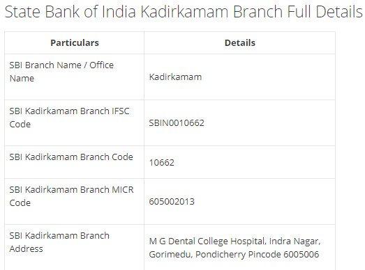 IFSC Code for SBI Kadirkamam Branch width=728