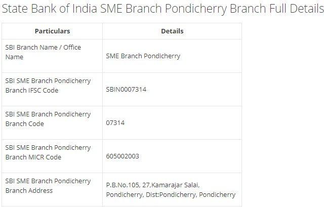 IFSC Code for SBI SME Branch Pondicherry Branch width=728