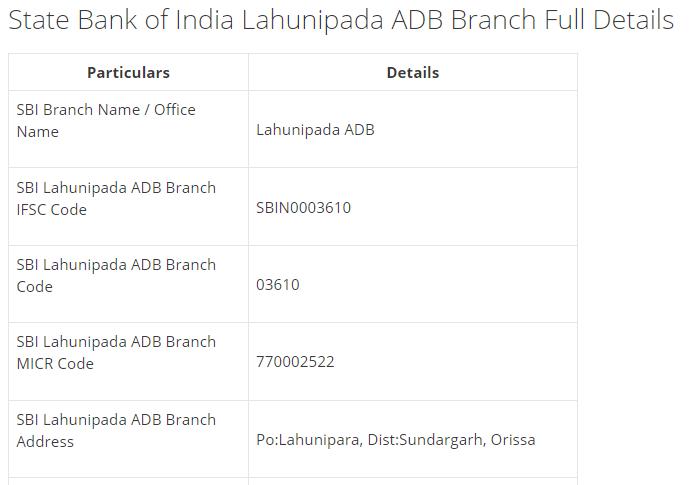 IFSC Code for SBI Lahunipada ADB Branch