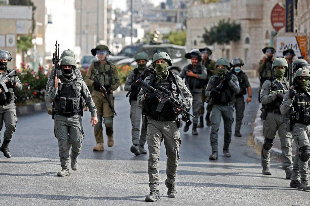 Border police (Magav) in Bethlehem yesterday