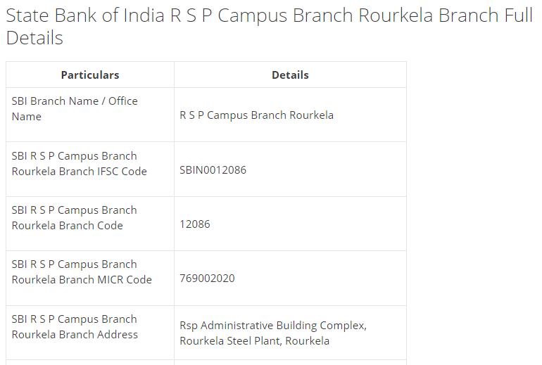 IFSC Code for SBI R S P Campus Branch Rourkela Branch