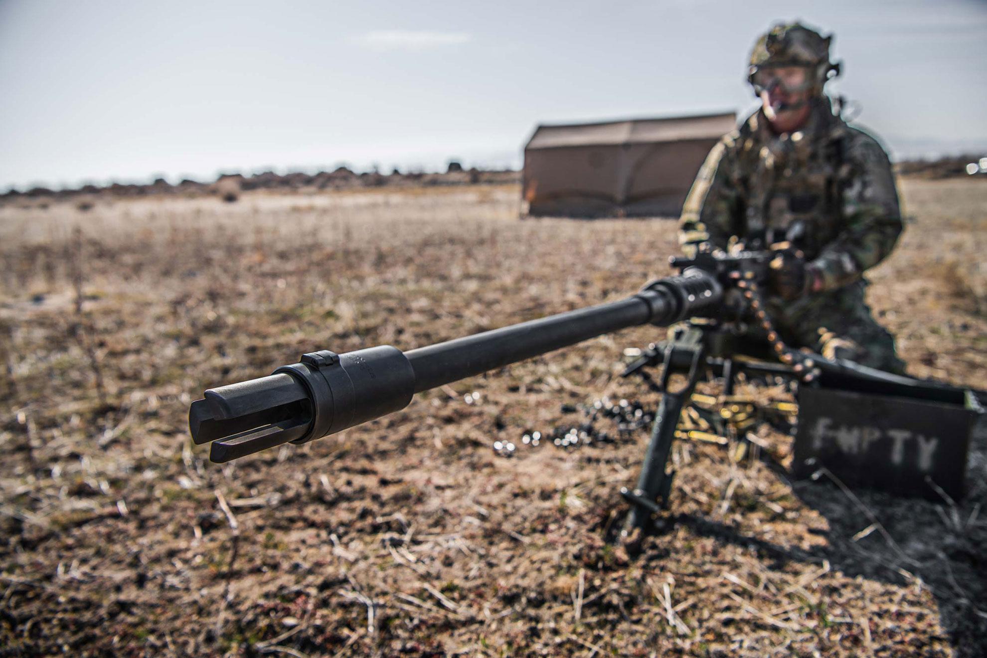 Surefire SF3P-50BMG flash hider for the M2 Browning machine gun