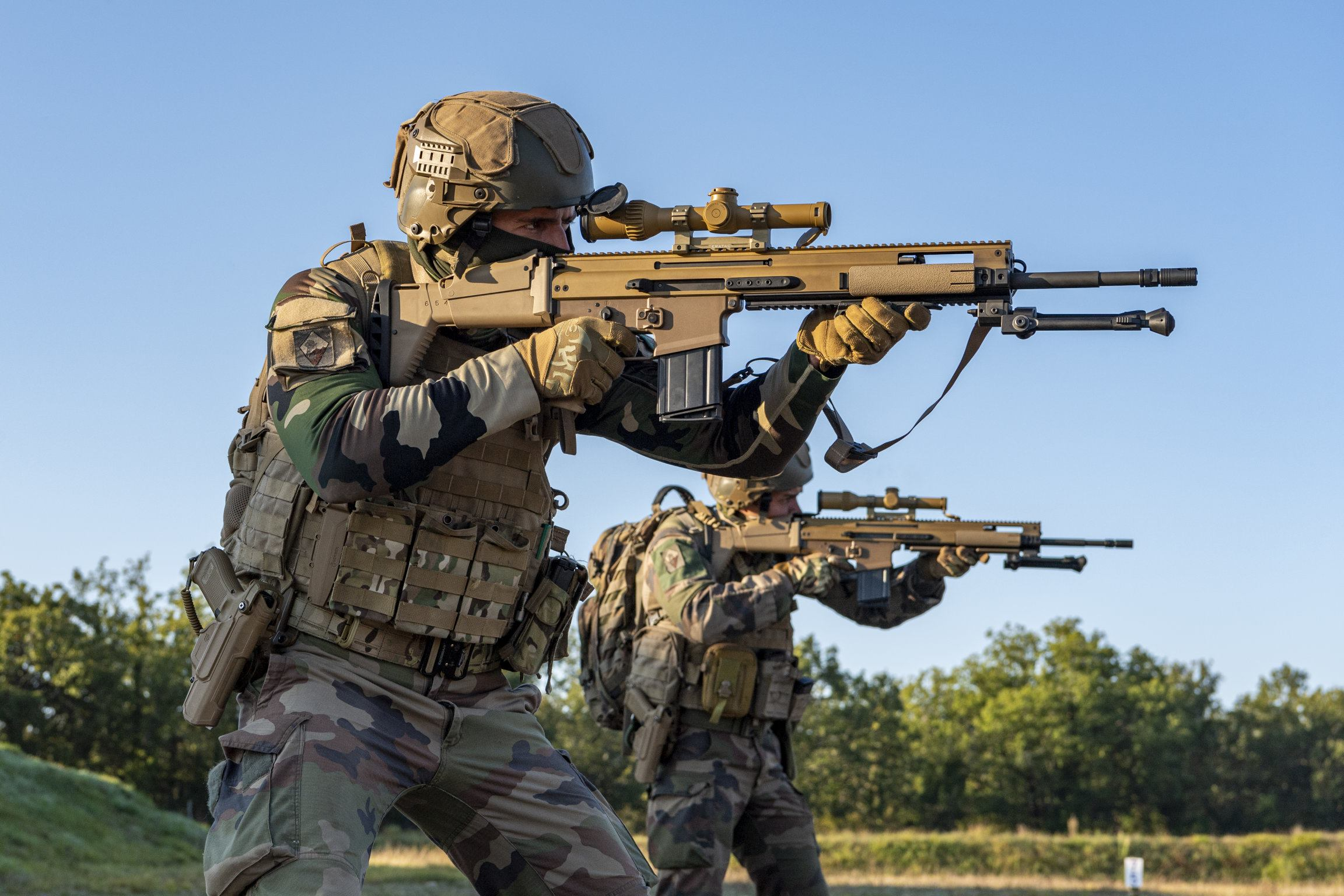 French Army sharpshooters adjusting to the new FN SCAR-H PR rifle, replacing the old FR-F2 bolt-action