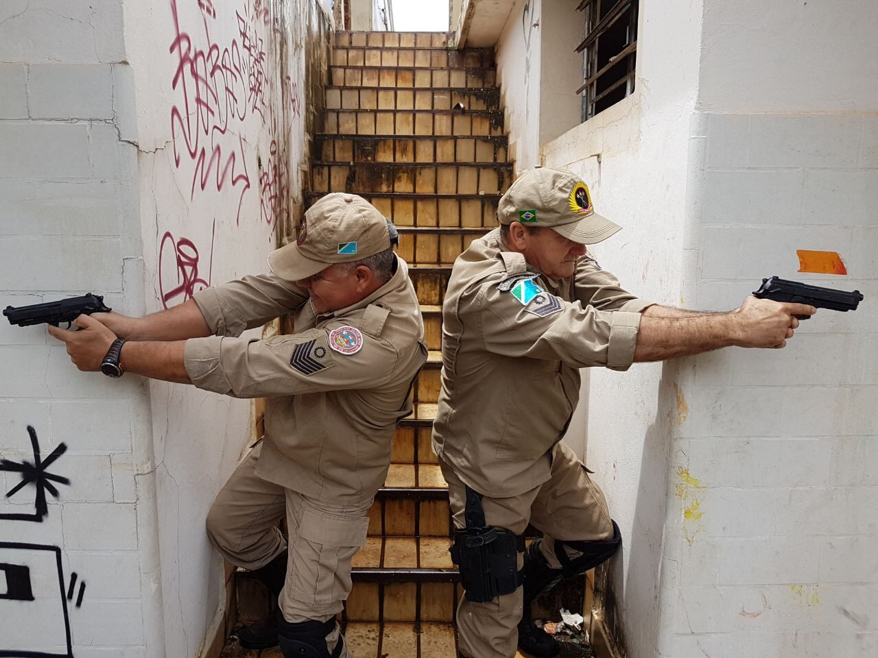 Brazilian Military Firefighters during tactical training with pistols   Military Firefighters Corps