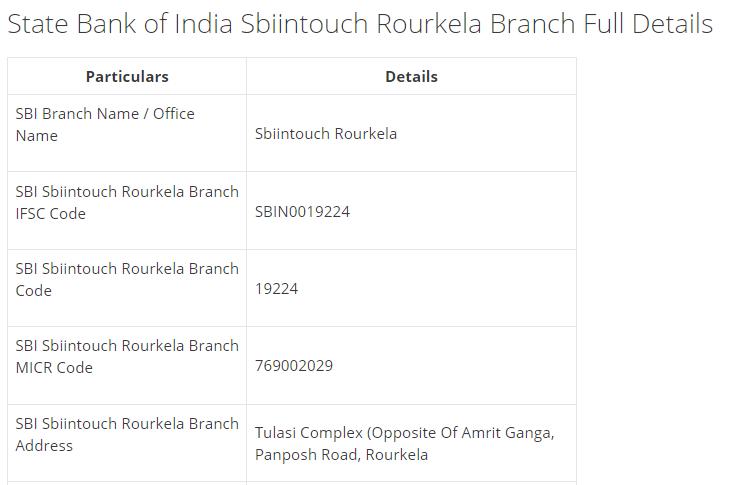IFSC Code for SBI Sbiintouch Rourkela Branch