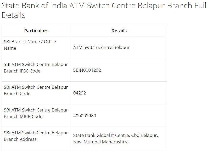 IFSC Code for SBI ATM Switch Centre Belapur Branch