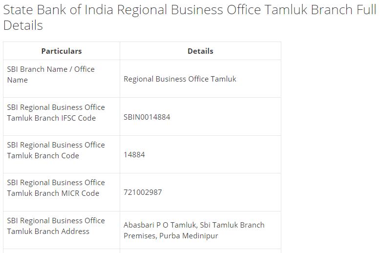 IFSC Code for SBI Regional Business Office Tamluk Branch