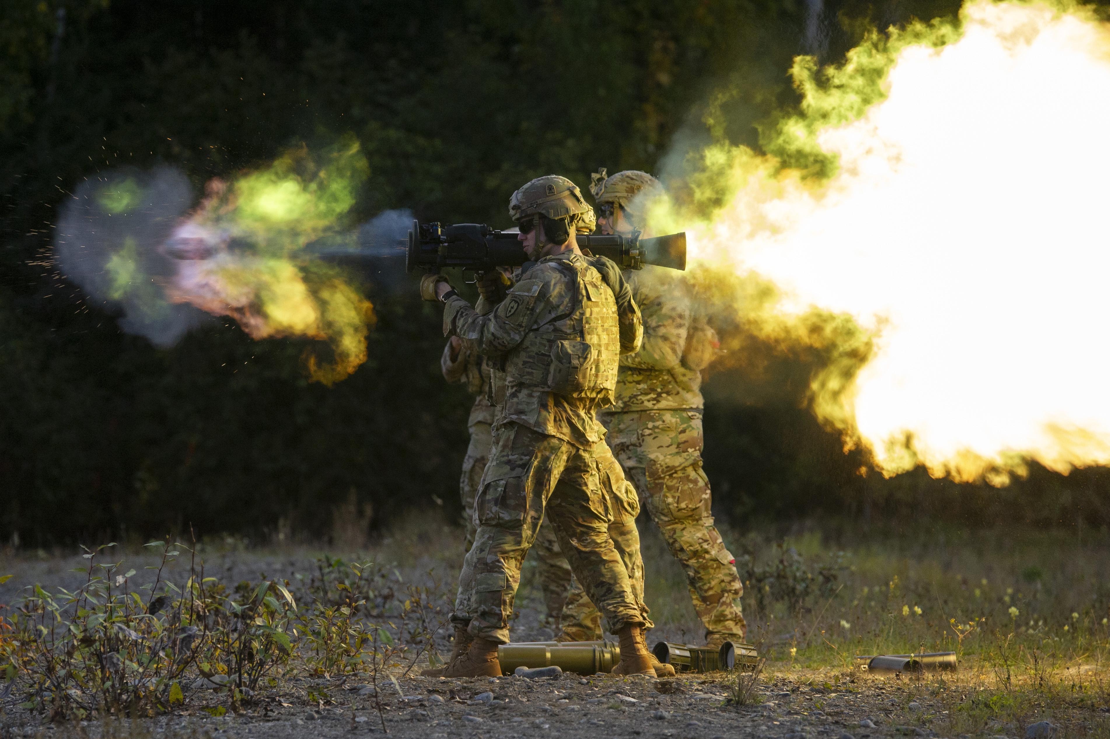Carl Gustaf recoilless rifle firing