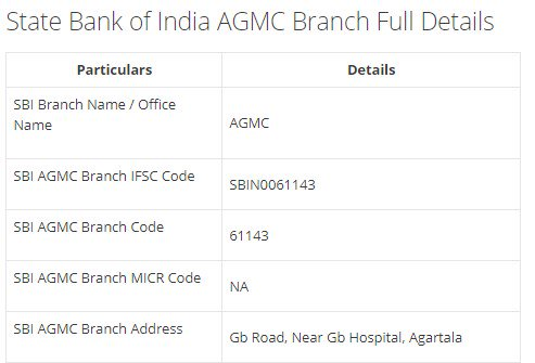 IFSC Code for SBI AGMC Branch width=728