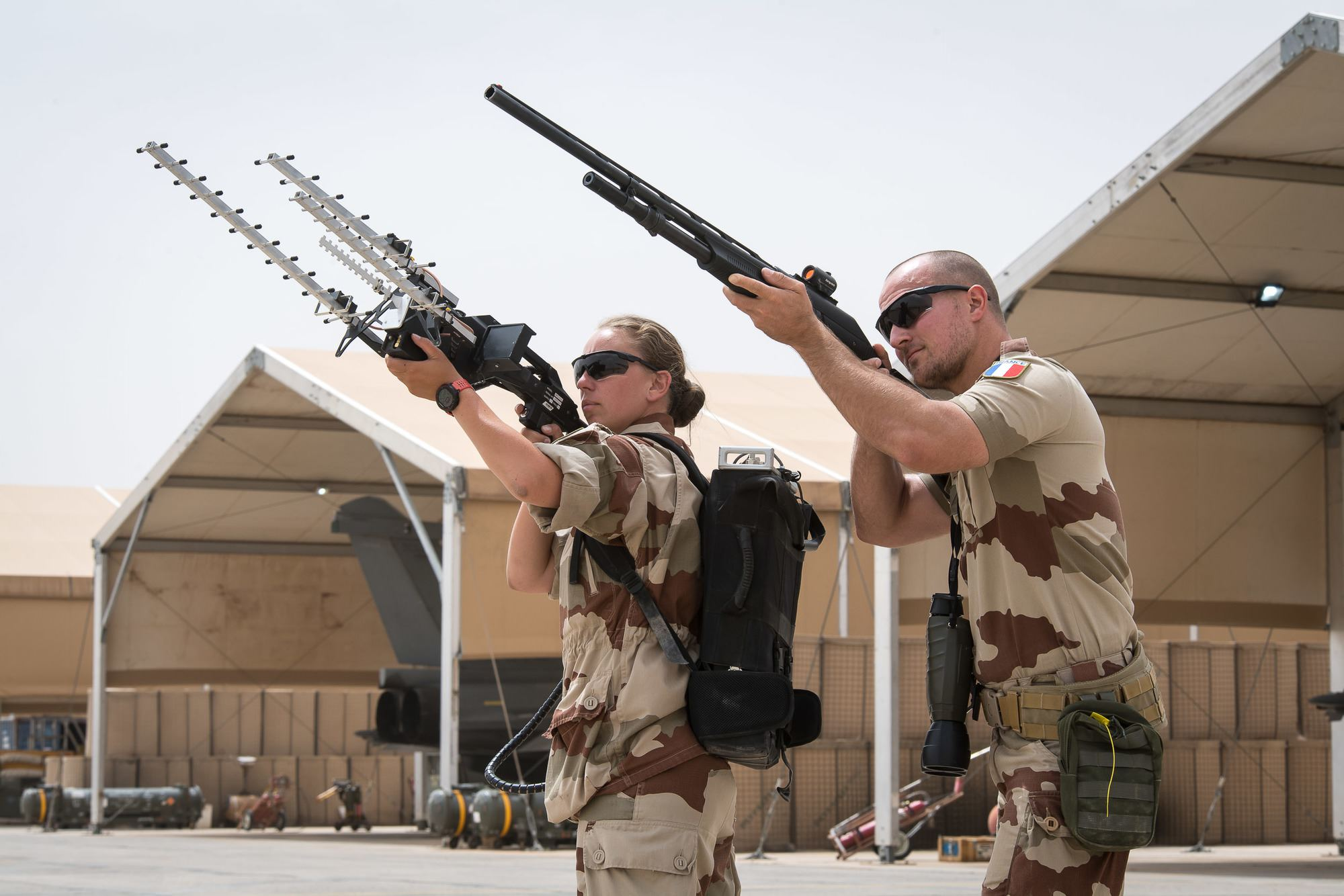 French Air Force Fusiliers showcasing anti-drone equipment on the Al Dhafra Air Base