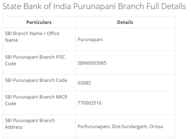 IFSC Code for SBI Purunapani Branch