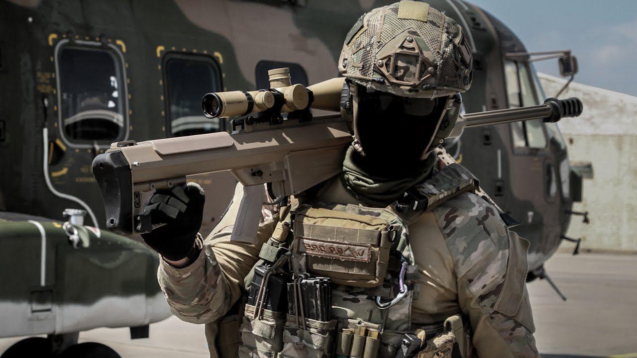 Portuguese spec ops carrying a Barrett 50cal